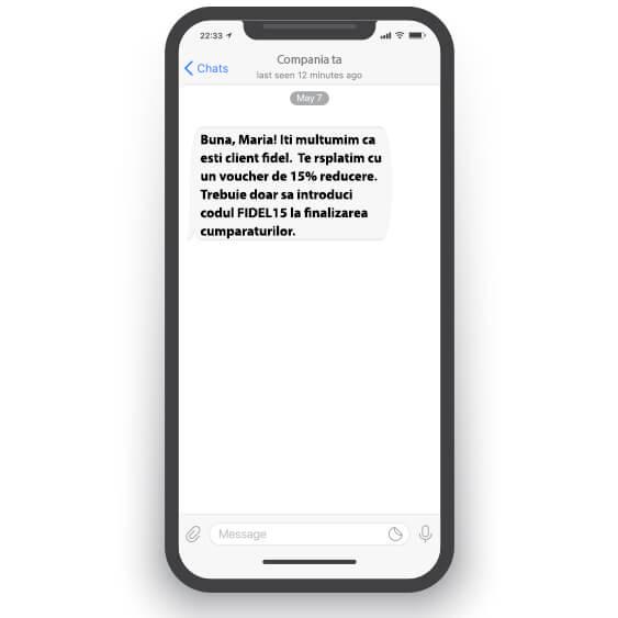 Exemplu de mesaj text care include un call to action.